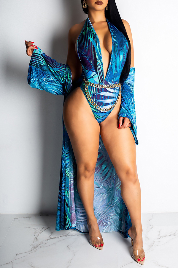 Lovely Trendy Floral Printed Blue One-piece Swimwear (With Cover-Up Without Accessory)