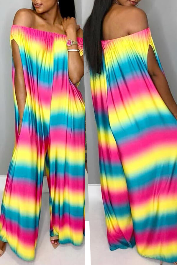 Lovely Casual Rainbow Printed Multicolor One-piece Jumpsuit