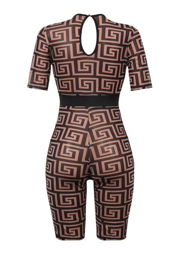 Lovely Sexy Printed Black One-piece Rompers(Without Underwear)