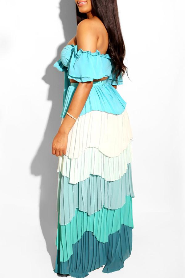 Lovely Sweet Ruffle Design Light Blue Chiffon Two-piece Skirt Set