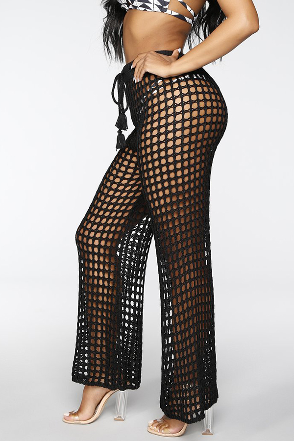 Lovely Sexy Hollowed-out Black Knitting Pants (Wit
