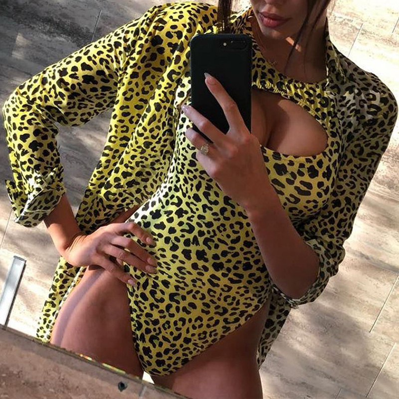 Lovely Sexy Animal Printed Green One-piece Swimwears (With CoverUps)