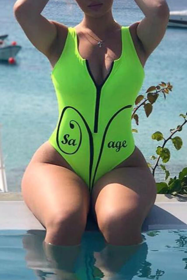 Lovely Casual  Zipper Design Green One-piece Swimwear