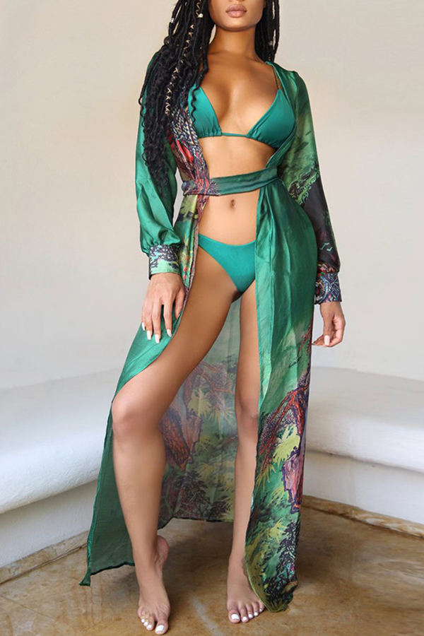 Lovely Sexy High-Leg Green Bikinis (With CoverUps)