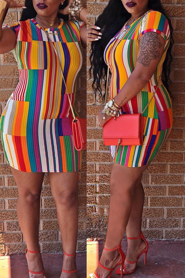 Lovely Trendy Striped Multicolor Mini Dress