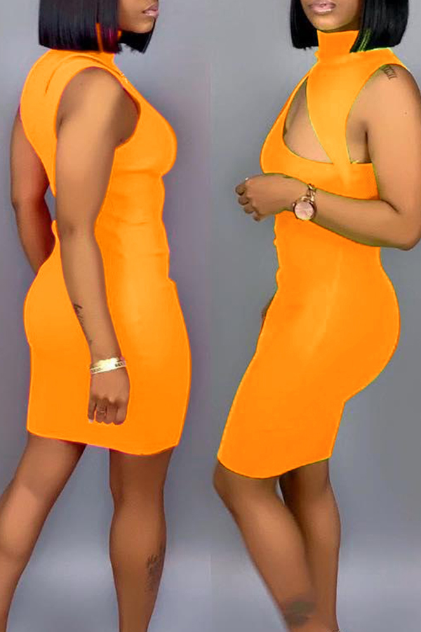 Lovely Sexy Hollowed-out Orange Blending Mini Dress