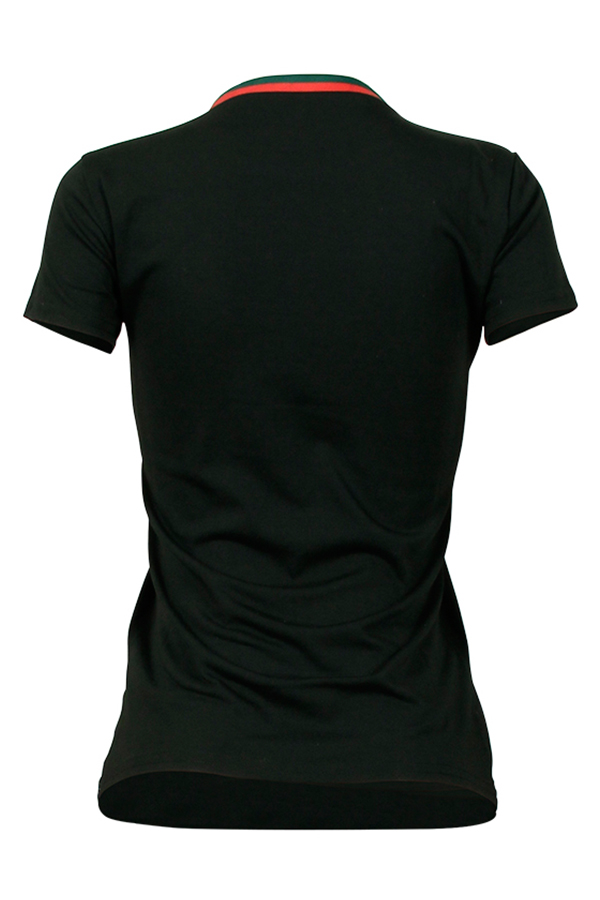 Lovely Pretty Round Neck Bow Printed Black Cotton Blends T-shirt