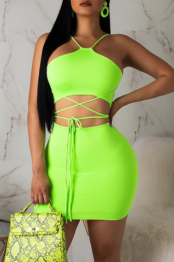 Lovely Casual Lace-up Green Two-piece Skirt Set