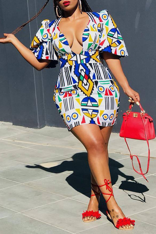 Lovely Elegant Printed Multicolor Mini Dress