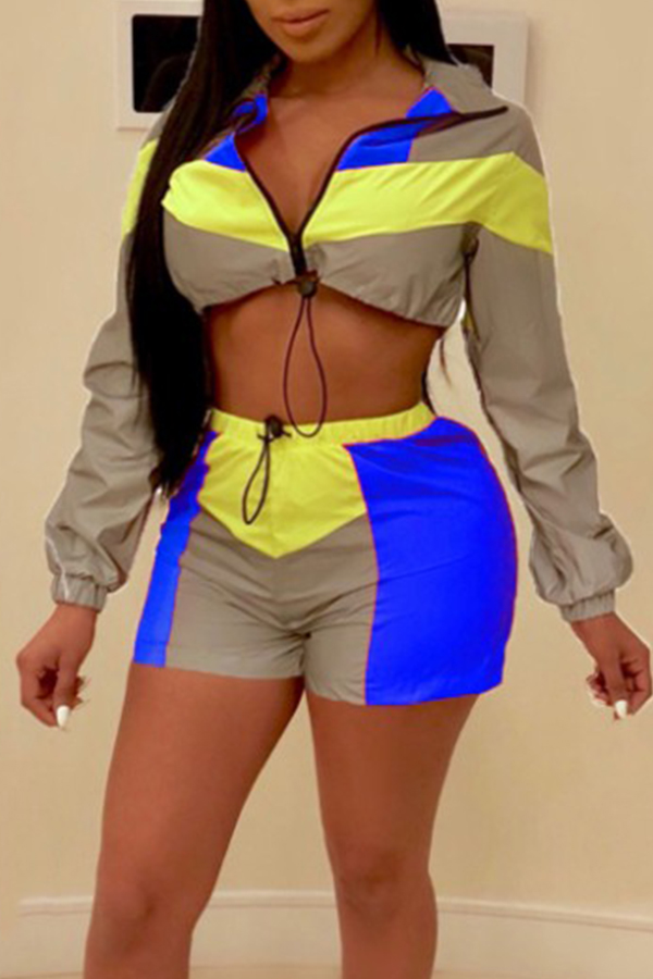 Lovely Trendy Patchwork Blue Two-piece Shorts Set