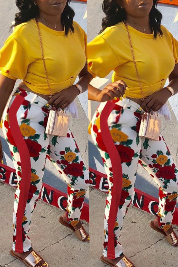 Lovely Casual Floral Printed Red Cotton Pants