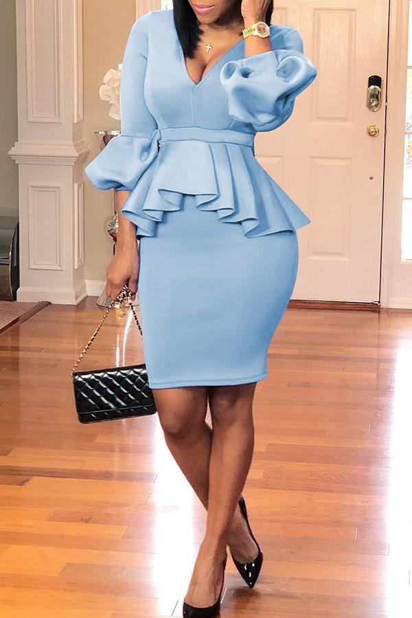Lovely Sweet Flounce Design Baby Blue Two-piece Skirt Set