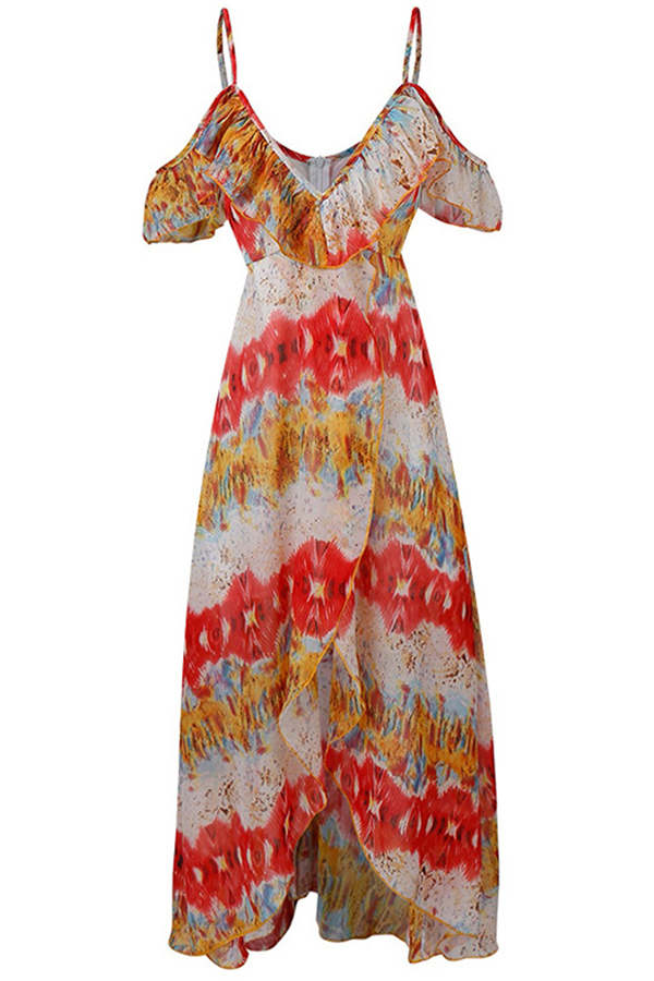 Lovely Trendy Printed Flounce Design Red Ankle Length Dress