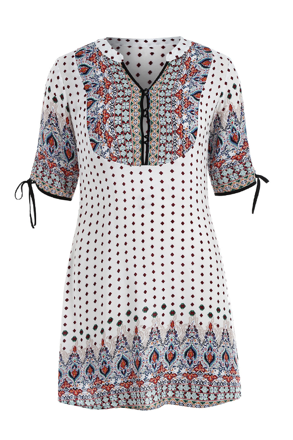 Lovely Plus-size Dots Printed Loose White Mini Dress