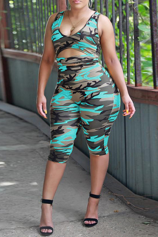 Lovely Casual Camouflage Printed Sky Blue One-piece Rompers