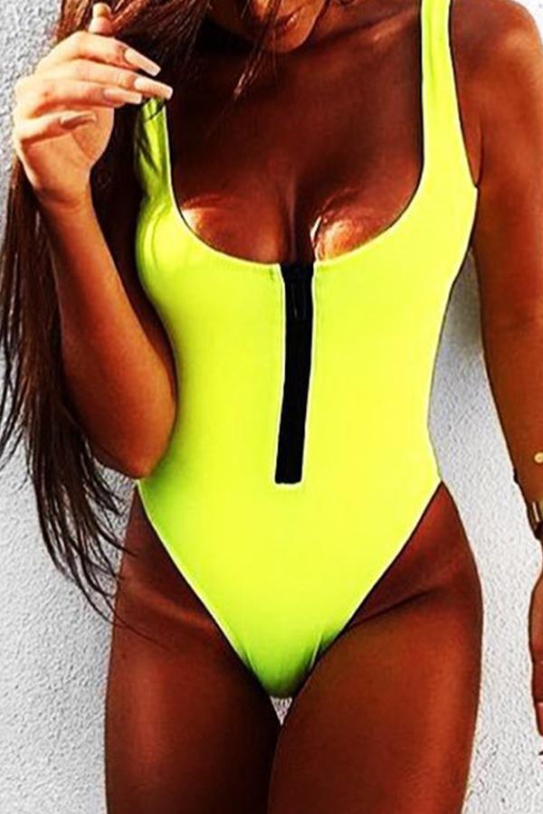 Lovely Trendy Zipper Design Green One-piece Swimwears