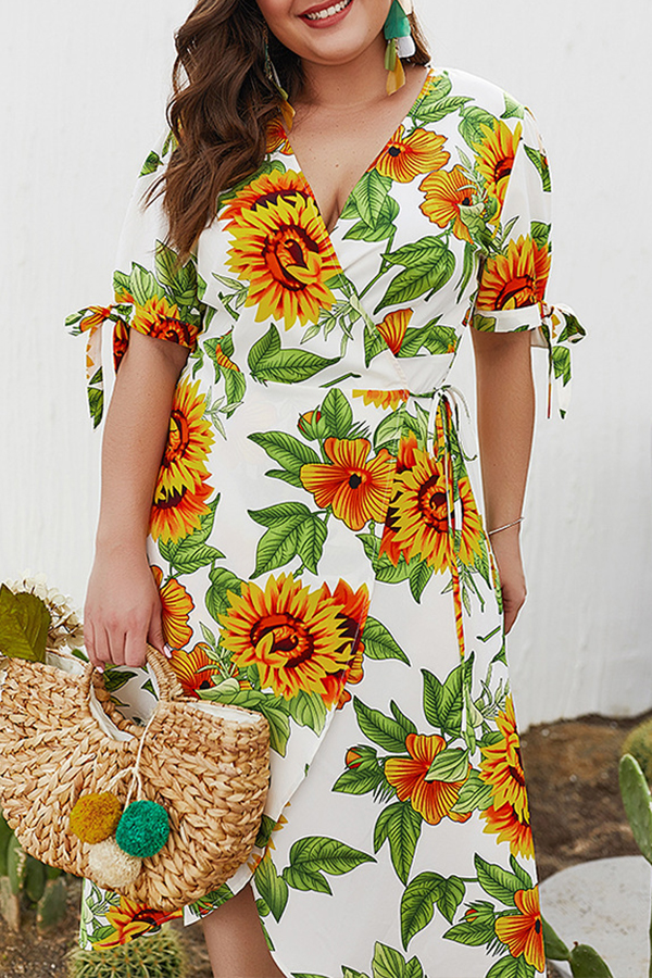 Lovely Plus-size Floral Printed White Mid Calf Dress