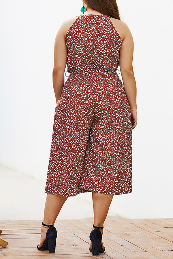 Lovely Plus-size Dots Printed Purplish Red One-piece Jumpsuit
