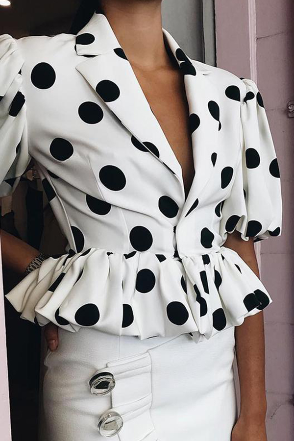 Lovely Dots Printed White Cotton Jacket