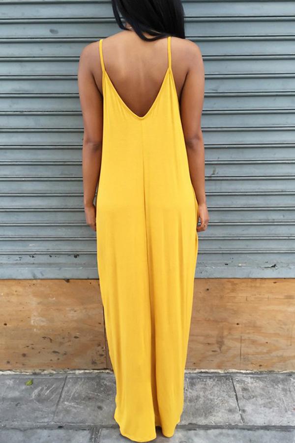 Vestido Largo Hasta El Suelo Con Mezcla Asimétrica En V De Color Amarillo Encantador