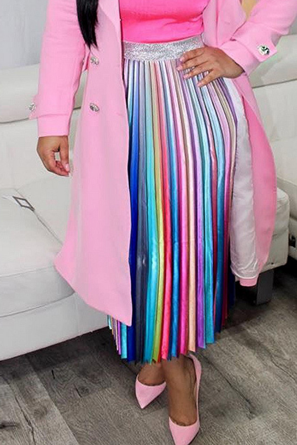 Lovely Casual Color Block Ankle Length A Line Skirts
