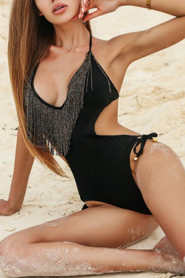 Lovely Sexy Tassel Design Black One-piece Swimwear