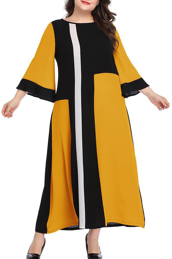 Lovely Casual Patchwork Yellow Ankle Length A Line Dress