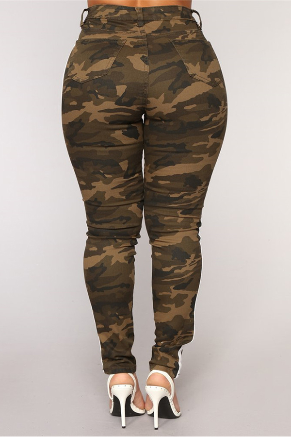 Lovely Trendy Patchwork Camouflage Printed Jeans