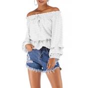 Lovely Sweet Flounce Design White Chiffon Shirts