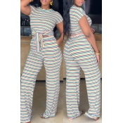 Lovely Casual Striped Yellow Blending Two-piece Pants Set