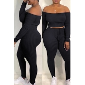 Lovely Casual Dew Shoulder Black Blending Two-piece Pants Set
