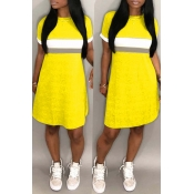 Lovely Casual Patchwork Yellow Knee Length Dress