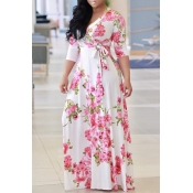 Lovely Casual Floral Printed White Floor Length Dr