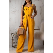 Lovely Casual Buttons Decorative Yellow One-piece Jumpsuit (With Belt)