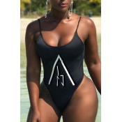 Lovely Casual Printed Black One-piece Swimwears