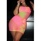 Lovely Sexy U Neck Hollowed-out Pink  Mini Dress (