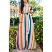 Lovely Sweet Striped Multi-color Floor Length Dres