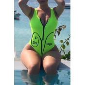 Lovely Casual Zipper Design Green One-piece Swimwe