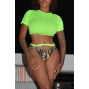 Lovely Sexy Hollowed-out Green Two-piece Swimwear