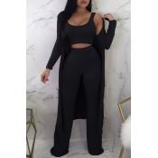 Precioso E Informal Cuello En U, Conjunto De Dos Piezas De Pantalones Negros Sueltos (con Abrigo)