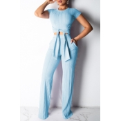 Lovely Trendy Knot Design Blue Two-piece Pants Set