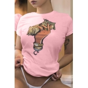 Lovely Casual Cartoon Printed Light Pink T-shirt