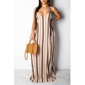 Lovely Sweet Backless Multicolor Floor Length Printed Dress