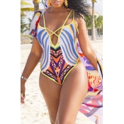 Lovely Sexy Hollowed-out Yellow One-piece Swimwears (With Cover-Ups)