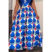 Lovely Casual Printed Loose Blue Floor Length Skir