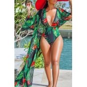 Lovely Sexy Halter Floral Printed Red One-piece Swimwear (With Cover-up)
