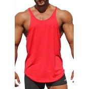 Lovely Casual Solid Red Cotton Vest