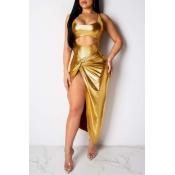 Lovely Sexy Sleeveless Side High Slit GoldTwo-piece Skirt Set