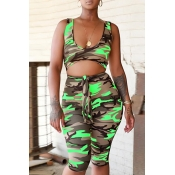 Lovely Casual Camouflage Printed Green One-piece Rompers