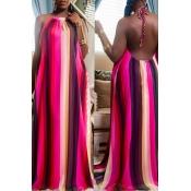 Lovely Sweet Backless Multicolor Floor Length Dress